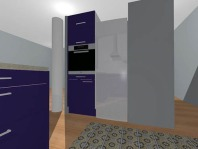 View towards fridge and oven