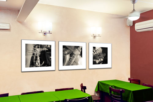Photo of room with music triptych