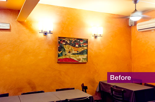 Photo of small restaurant dining room before renovation.
