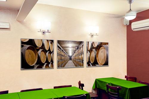 wine cellar triptych photographs